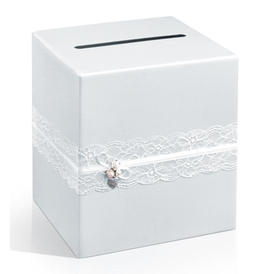 Bruiloft accessoire enveloppendoos met kant