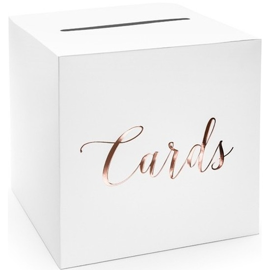 Housewarming enveloppendoos wit rosegoud cards 24 cm