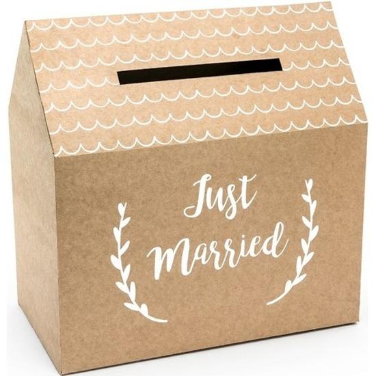 Bruiloft huwelijk enveloppendoos kraftpapier huisje 30 cm