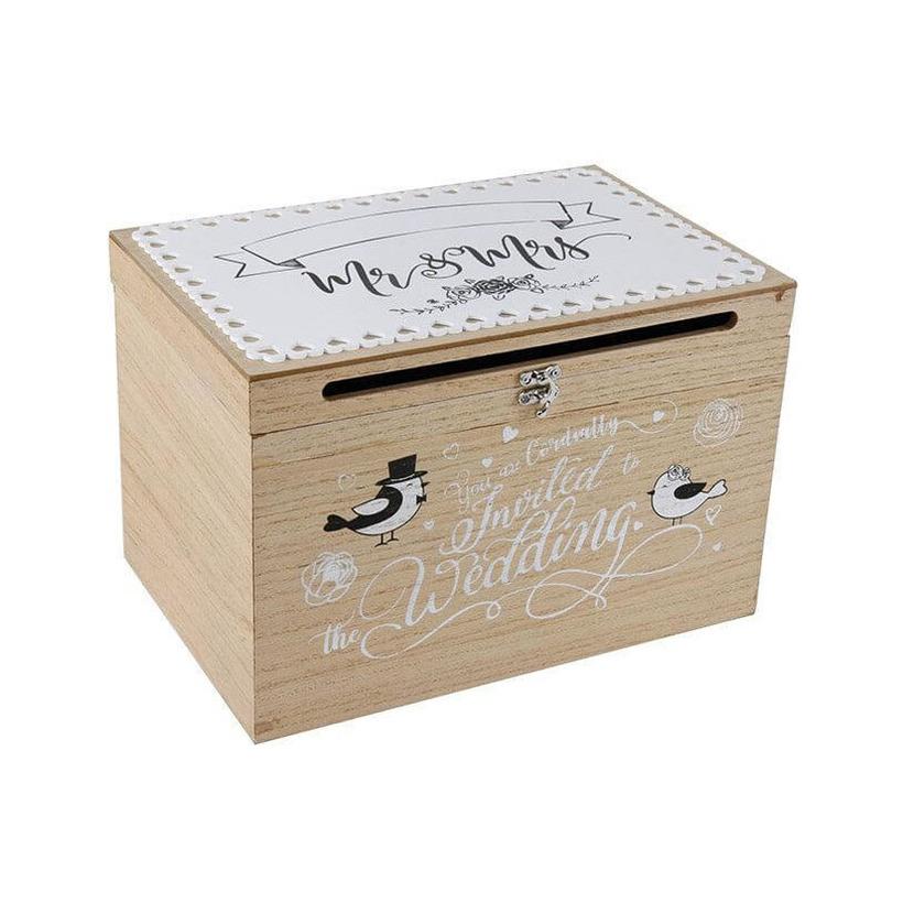 1x houten huwelijksdoosje bruiloft enveloppen doos 30 x 20 x 20 cm