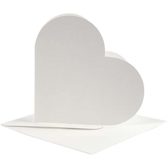 100x hartjes kaarten wit met enveloppen