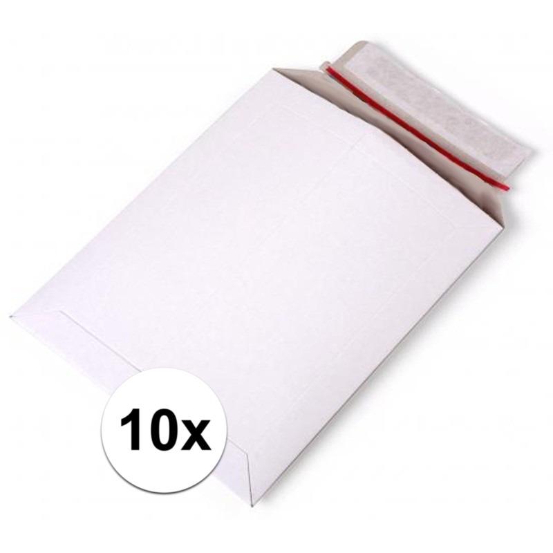 10x kartonnen enveloppen wit a4 29 x 21 cm