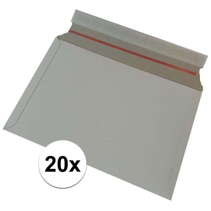 20x kartonnen enveloppen wit 38 x 26 cm