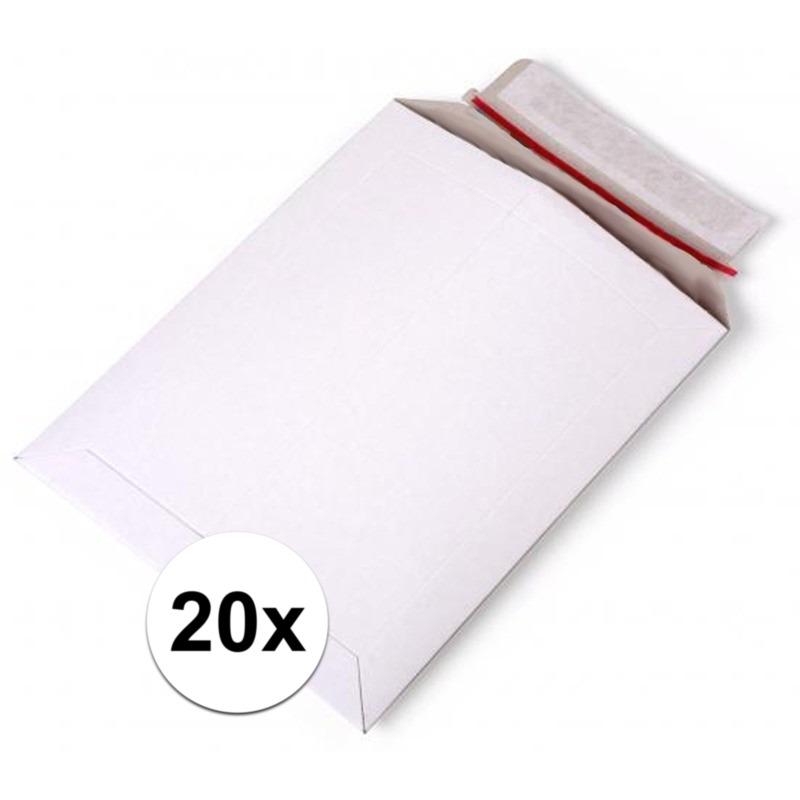 20x kartonnen enveloppen wit a4 29 x 21 cm