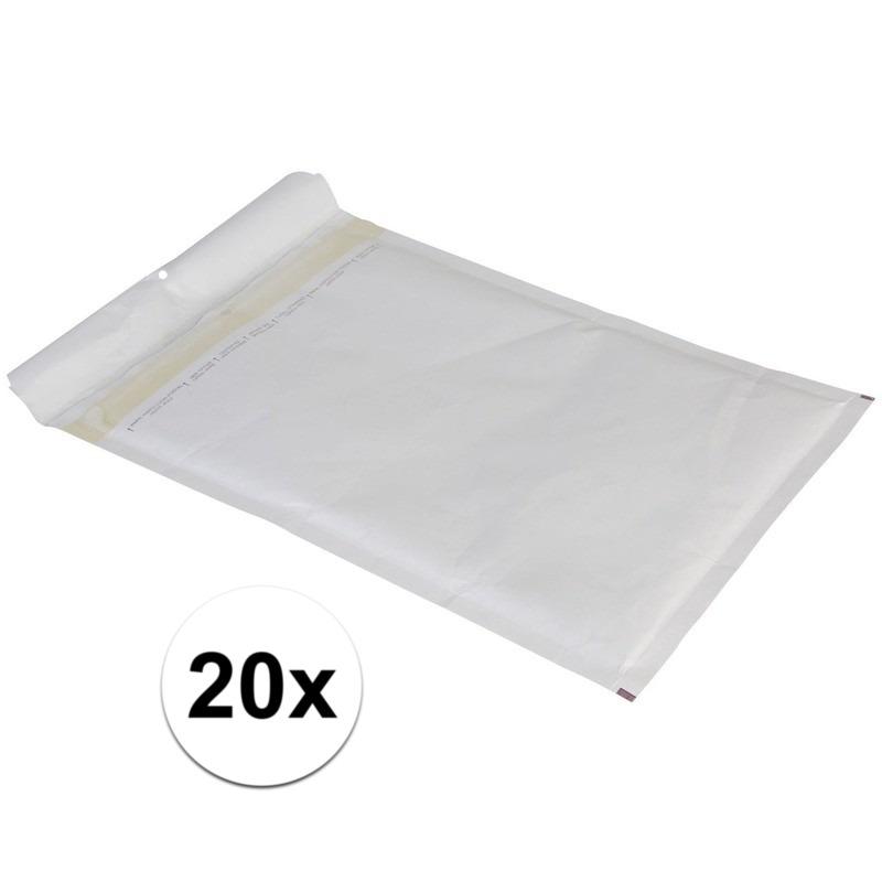 20x luchtkussen enveloppen wit 26 x 18 cm