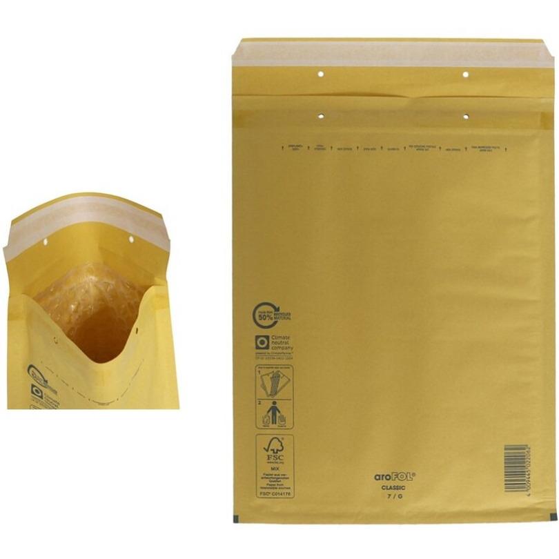 50x stuks bubbel luchtkussen enveloppen bruin 23 x 34 cm
