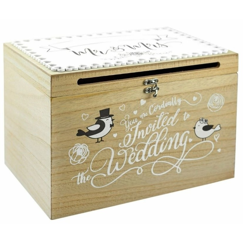 Bruiloft huwelijk enveloppen kaart kist 30 cm
